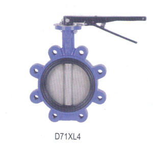 Blue Ductile Iron Wafer Butterfly Valve D71xl4 pictures & photos