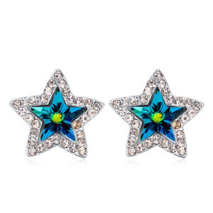 Women′s Hot Alloy Crystal Star Earrings