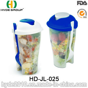 High Quality Salad Container Plastic Shaker Cup with Fork (HDP-2018) pictures & photos