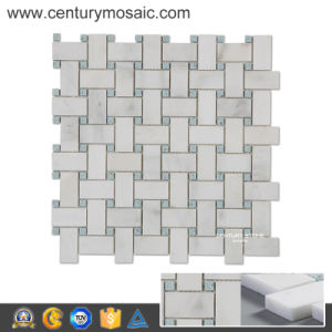 "Century 1""X2"" Statuary White Mix Blue Quartz Mosaic Decorative Tiles"