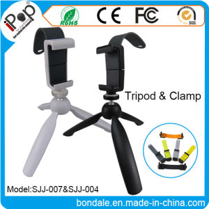 Portable Tripod Ball Head Compact Travel with Mobile Phone Holder