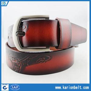 Unique Durable Embossed Pattern Split Leather Mens Belt (40-13069)