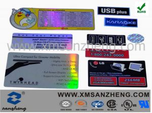 Pet Hologram Self Adhesive Semi Glossy Rain Resistant Shiny Label Stickers pictures & photos