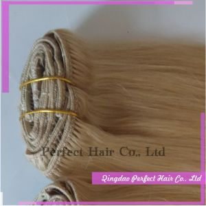 Blond Curly Cheap Human Clip in Hair Extensions pictures & photos
