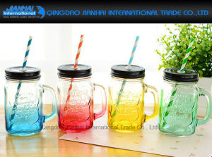 Colored Drinking Jar Glass Bottle with Lid and Handle pictures & photos