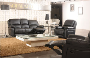 Black Color Well Sell and on Promotion Leather Recliner Sofa pictures & photos