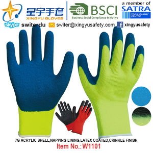 Winter Gloves, 7g Acrylic Shell Napping Lining Latex Coated Gloves (W1101) Crinkle Finish with CE, En420, En388, En511 Certificate. pictures & photos