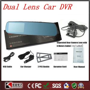 1080P 4.3inch Dual Lens Car DVR Two Camera Blue Mirror Full HD Viewseparated pictures & photos