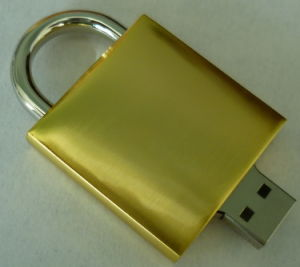 Metal Golden Lock Shape Promotional USB Flash Drive (EM527) pictures & photos