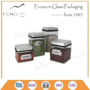 Square Glass Container with Logo Embossed and Metal Cap pictures & photos