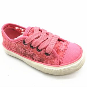 Pink Flower Canvas Kids Shoes with Shoelace (ET-OW160370K) pictures & photos