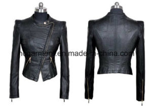 Fashion Punk PU Belt Jackets for Lady/Women, Outwear Coat pictures & photos