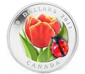 Tulip with Ladybug Silver Coin