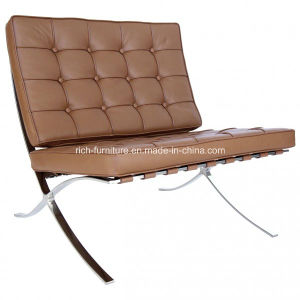Replica Office Living Room Stainless Steel Frame Aniline Leather Barcelona Chair pictures & photos