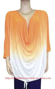 Women′s Knitted Rayon Slub Blouse with Ombre Dye (RTB14078) pictures & photos