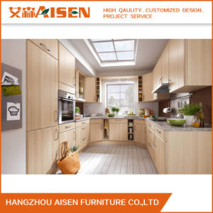 Flat Surface Wooden Color Apartment PVC Kitchen Cupboards pictures & photos