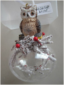 Hot Sales Clear Christmas Glass Ball with Resin Owl pictures & photos