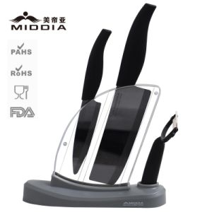 Mirror Black Ceramic Knife Block Set with Peeler pictures & photos