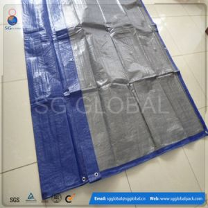Blue Silver HDPE Coated Waterproof Hay Tarp Cover pictures & photos