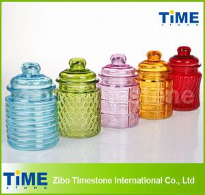 Colored 250ml Glass Jar with Glass Lid for Cookie Candy pictures & photos