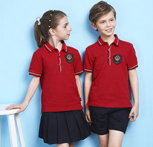 Custom Unisex Summer Red Color School Uniform High Quality Embroidery Polo Shirt pictures & photos