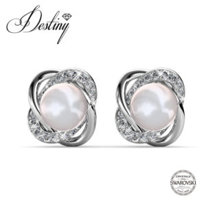 Destiny Jewellery Crystal From Swarovski Flower Shape Pearl Earrings