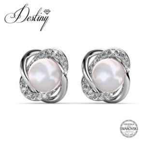 Destiny Jewellery Crystal From Swarovski Flower Shape Pearl Earrings