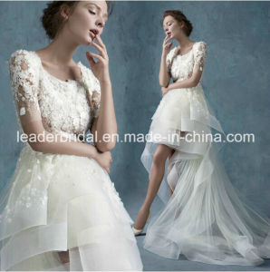 3/4 Sleeves Short Bridal Dress Hi-Low Beading Lace Beach Wedding Dress Yao20167 pictures & photos