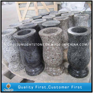 Polished G664/Black Granite Stone Flower Vase for Tombstone pictures & photos