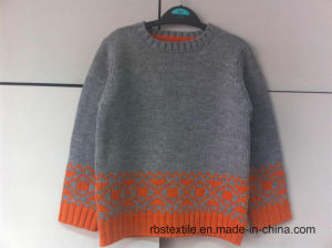 Grey Marl Jumper with Jacquard Intarsia - True Knitted Sweater pictures & photos