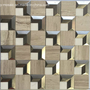 Metal Mixed Natural Stone Marble Mosaic for Floor Tile (FYSM109) pictures & photos