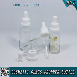 50ml 30ml 20ml Cosmetic Clear Glass Dropper Bottle with Plastic Child Proof Cap pictures & photos