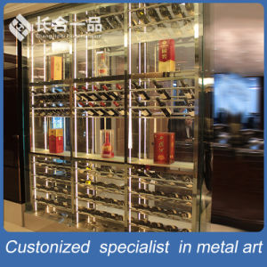 Customized Mondern Stainless Steel Silver Wine Cabinet Furniture for Restaurant pictures & photos