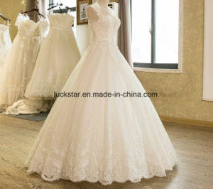 New Arrival A-Line Sleeveless Tulle Lace Appliques Wedding Dress 2017 pictures & photos