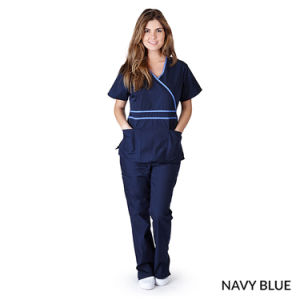 Womens Contrast Mock Wrap Medical Hospital Nursing Uniform (A582) pictures & photos
