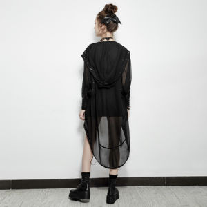 Py-187 Punk Asymmetric Chiffon Long Coat Suit for Halloween and Prevent Bask pictures & photos