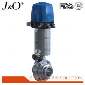 Sanitary Pneumatic Male-Thread Butterfly Valve with C-Top pictures & photos