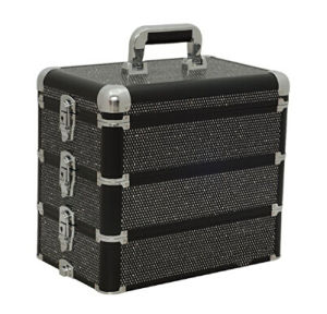 Crystal Black 3-in-1 Professional Makeup Artist Cosmetic Train Case Organizer Storage, pictures & photos