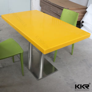 Artificial Stone Marble Yellow Square Dining Table pictures & photos