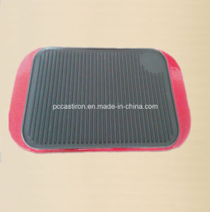 Preseasoned Cast Iron Griddle Plate with Enamel Handle Supplier pictures & photos