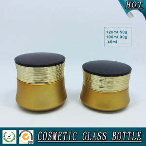 Gold Yellow Coloured Cosmetic Glass Bottle and Cosmetic Glass Cream Jar pictures & photos