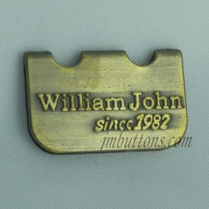 Plating Golden Embossed Brand Name Metal Labels pictures & photos