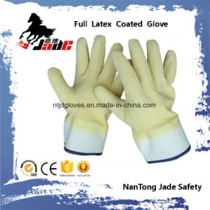 Cotton Liner with Fully Yellow Latex Crinkle Finished Safety Cuff Work Gloves pictures & photos
