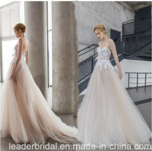 Champagne Bridal Gowns Sleeveless Lace Tulle Wedding Dresses Y2044 pictures & photos