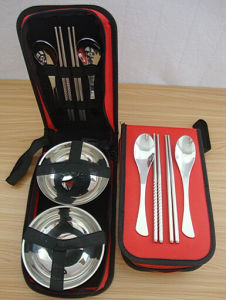 Stainless Steel Travel Spoon Bowl /Chospticks Cutlery Set with Cloth Box Package pictures & photos