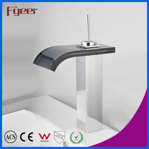 Fyeer High Body Crooked Square Glass Waterfall Spout Single Handle Chrome Plated Brass Basin Faucet Mixer Tap Wasserhahn pictures & photos