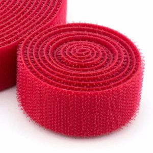 Eco-Friendly Self-Adhesive 100% Nylon Material Hook and Loop Tape Red Color pictures & photos