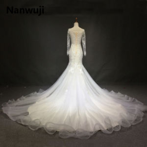 Sexy Ivory Lace Long Sleeve Backless Bohemian Wedding Dresses Summer Court Train Flow Chiffon Plus Size Beach Bridal Gowns pictures & photos
