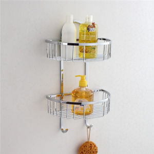 Stainless Steel Shampoo Holder Bathroom Basket with Hooks (8814) pictures & photos
