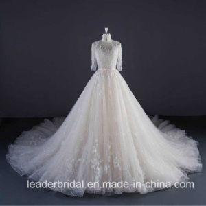 3/4 Sleeves Wedding Dress Real Photos Custom Lace Bridal Ball Gown Ya116 pictures & photos
